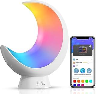 ECOLOR Smart sänglampa, segmenterad färgförändring sänglampor för sovrum, app-styrd dimbar touch-bordslampa, RGB LED-barnl...