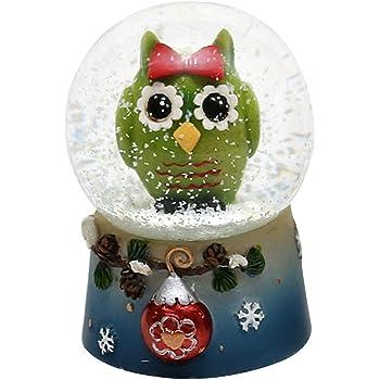 Dekohelden24 - Bola de nieve con divertido búho, original verde: Amazon.es: Hogar