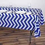 Tableclothsfactory 5 Pcs 54' x 108' Rectangle Disposable Chevron Plastic Vinyl Table Cover Picnic Party Tablecloth- White/Royal Blue