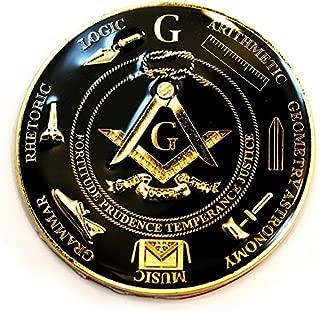 Working Tools 7 Liberal Arts Round Black Masonic Auto Emblem - 3