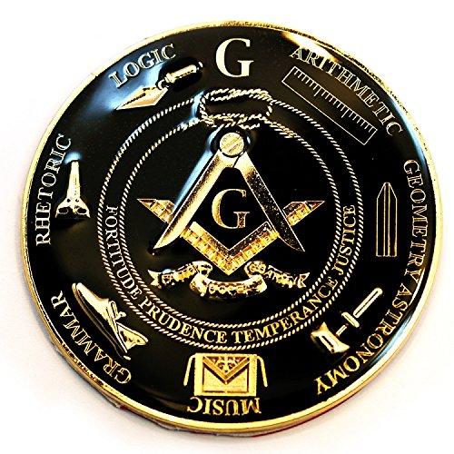 Seven Liberal Arts Round Masonic Auto Emblem - [Black & Gold][3'' Diameter]