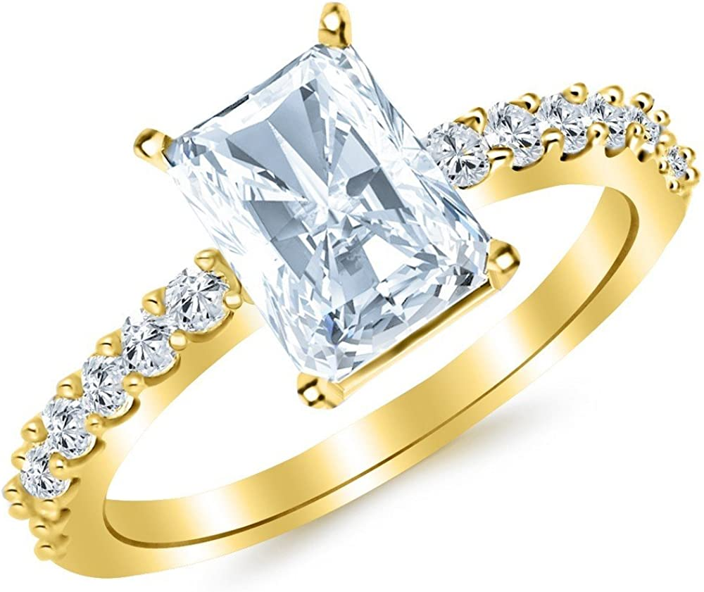 2 Ranking TOP3 Ctw 14K White Gold Classic Cut GIA Max 53% OFF Pave Certified Radiant Set