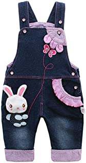 Baby & Little Girls Rabbit Casual Soft Denim Overalls Jeans