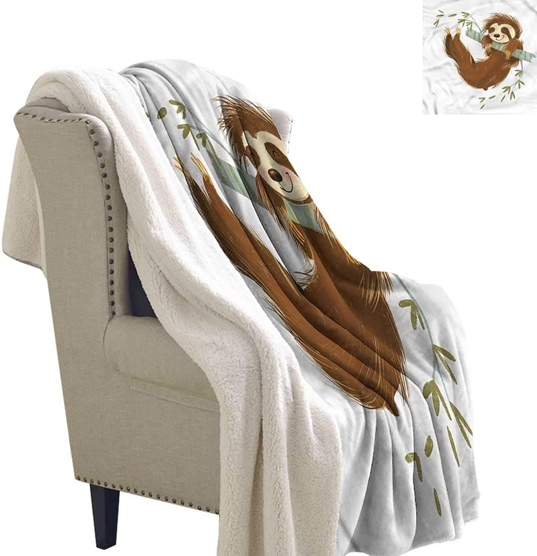 Beihai1Sun Sloth Blanket Small Quilt Cheerful Animal on Tree 60x32 Inch