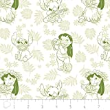 Disney Fabric Lilo and Stitch Fabric Hula Toile in Dark Lime by The Yard