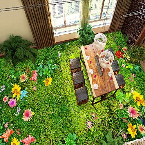 Papel pintado autoadhesivo personalizado para suelo 3D Mural personalizado para suelo 3D Flores Hierba Césped Sala de estar Dormitorio Balcón Impermeable Autoadhesivo Decoración de suelo Mural Pvc W