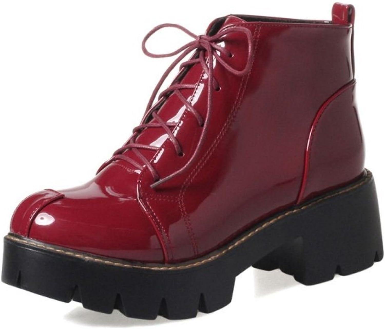 FizaiZifai Women British Style Martin Boots Mid Heel Lace-up