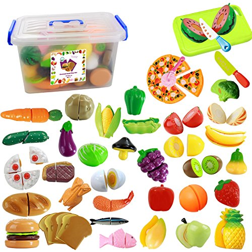IQ Toys 40 Piece Pretend Cutting Food Playset for Kids Kitchen Toys Cutting Fruits Vegetables Pizza with Knives and Pizza Cutter Includes a Storage Container
