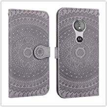 For Sony Xperia L2 Pressed Printing Pattern Horizontal Flip PU Leather Case with Holder & Card Slots & Wallet && Lanyard New (Gray) HuangFF (Color : Gray)