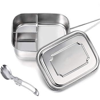 G.a HOMEFAVOR 800ml Lunch Box Bento Box in Acciaio Inossidabile per Bambini e Adulti Contenitore Scatola per Il Pranzo a Prova di Perdite con Chiusura a Clips