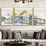 Warm Home Pájaro de montaña triple cristal porcelana pintura marco dorado lujo mural Villa Hotel hogar salón decoración pared 3 unids/set