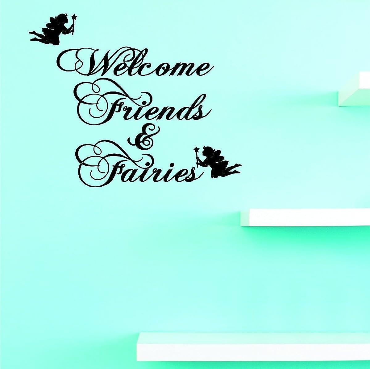 ローストヘルパー食品割引ビニール壁デカール: Welcome Friends and Fairiesホーム装飾画像アート10インチx 20インチ?–?22?Colors Available
