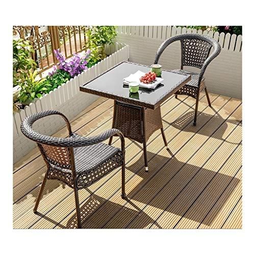 Juegos de muebles de jardín Rattan Muebles de jardín al aire libre mesa y sillas Conjunto Familia Césped Muebles de exterior Mesa de café Patio conversación al aire libre (2 piezas Conjunto Silla Tabl