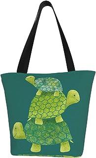 Meiya-Design Personalisierte Segeltuch-Tragetasche, niedliche Schildkröte, stapelbar in Blaugrün, Limettengrün und Türkis, waschbare Handtasche, Umhängetasche, Einkaufstasche für Frauen