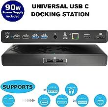 MediaGear Dual Display USB C Docking Station w/ 70W Power Delivery. Ports: HDMI, DisplayPort, 6x USB, Gigabit Ethernet, Audio/Mic, Bundle: 90W AC Adapter, C-C Cable, C-A Dongle for Mac & Windows OS