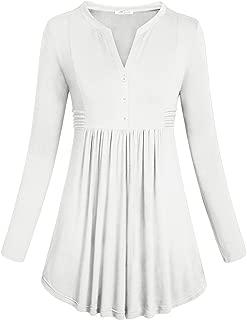 SeSe Code Women's Long Sleeve Mandarin Collar Shirt Pleated Flare Tunic Tops