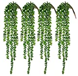 CEWOR 4pcs Artificial Succulents Hanging Plants Fake String of Pearls for Wall Home Garden Decoration (23.62 Inches Each Length)