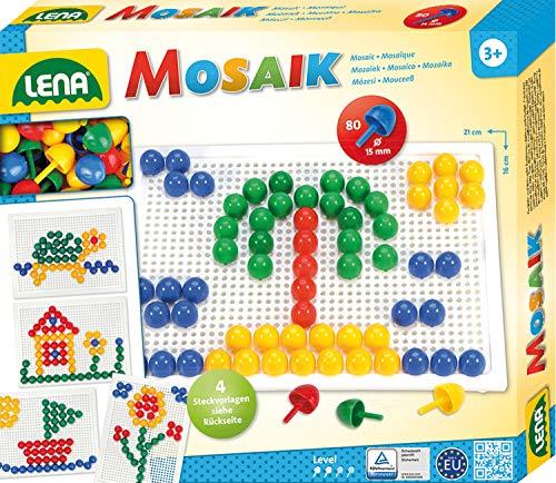 Lena 35604 Steckmosaikspiel mit 80 Steckern, Color Mosaiksteine mit Ø von 15 mm, Mosaikspiel mit Steckvorlagen, Stiftplatte 21 x 16 cm, Steckspiel für Kinder ab 3 Jahre, Mosaik Bastelset, bunt