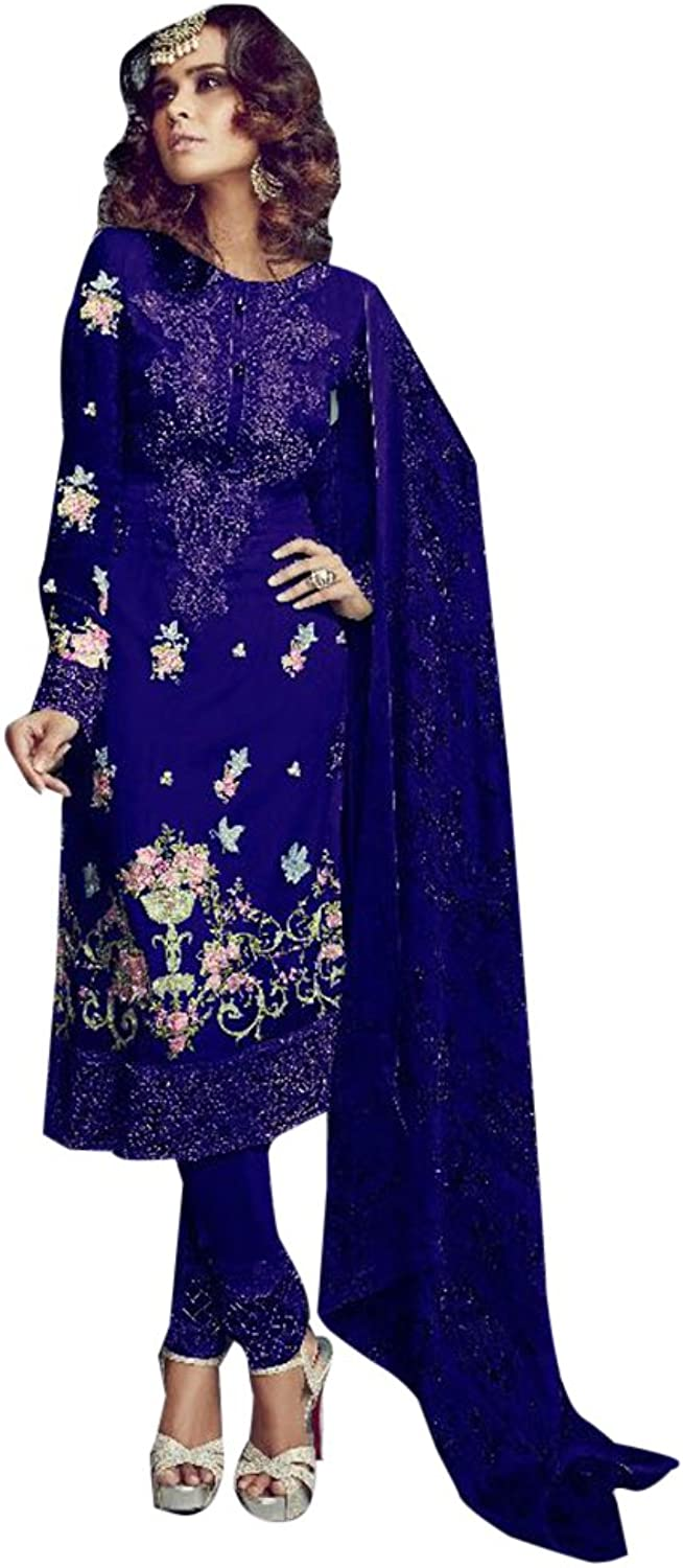 bluee Bollywood collection Straight Salwar Kameez Suit Dupatta for Women Unstitched Muslim Party Bespoke 944 4