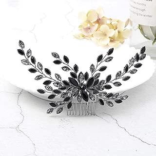 Yean Wedding Hair Comb Rhinestones Bridal Hair Side Comb Accessories Headdress for Bride and Bridesmaid (Black)