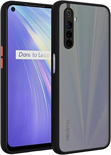 Aarnik Back Cover for Realme 6 Smoke Case Transparent Shockproof Protective Clear Bumper Smoke Cover for Realme 6 Smoke Black