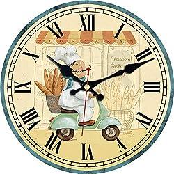 ShuaXin Cartoon Style Kids Room Children Bedroom Decoration Wall Clocks,12 Inch Wooden Cute Baker Design Decorative Silent Non Ticking Wall Clock