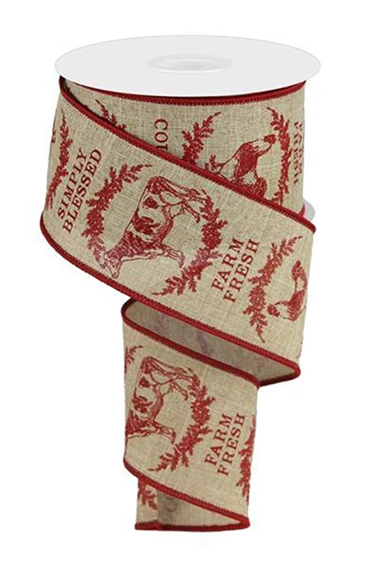 1 ROLL - Farmhouse Animals Ribbon - Farm Fresh, Simply Blessed -Red on Tan - Wired Edge 10 Yards x 2.5 inch