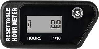 Runleader Contador de horas de mantenimiento digital, temporizador de trabajo reiniciable, recordatorio de intervalos de SVC para generador de cortacésped, motor fueraborda de ATV marino(NEGRO)