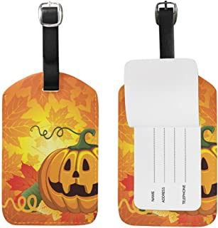 CoolToiletLidCoverCC Halloween Pumpkin Pattern Luggage Tags Travel Labels Tag Name Card Holder for Baggage