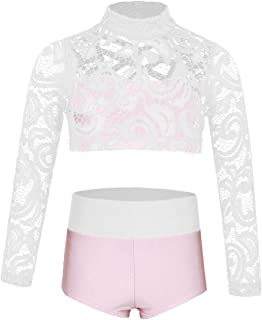 YONGHS Kids Girls Two Piece Ballet Dance Outfits Long Sleeves Mock Neck Criss Cross Crop Top with Briefs Outfit Set