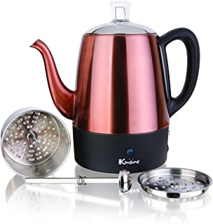 Euro Cuisine PER04 Electric Percolator 4 Cup Stainless Steel Coffee Pot Maker (4 Cup)