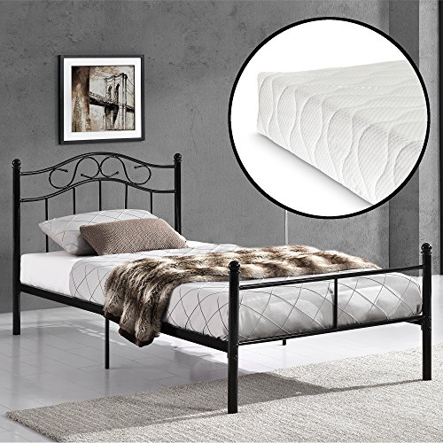 [en.casa] Stalen eenpersoonsbed incl. matras en bedbodem - zwart