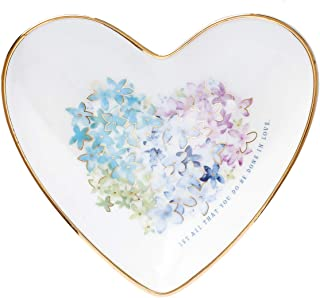 Christian Art Gifts Violet Floral Heart Ceramic Trinket Tray, Violet Heart Collection