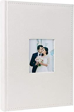 FaCraft Wedding Albums 4x6 300 Pictures,Wedding Gifts for Bride Horizontally with Memo Area and Fabric Cover (Ivory)