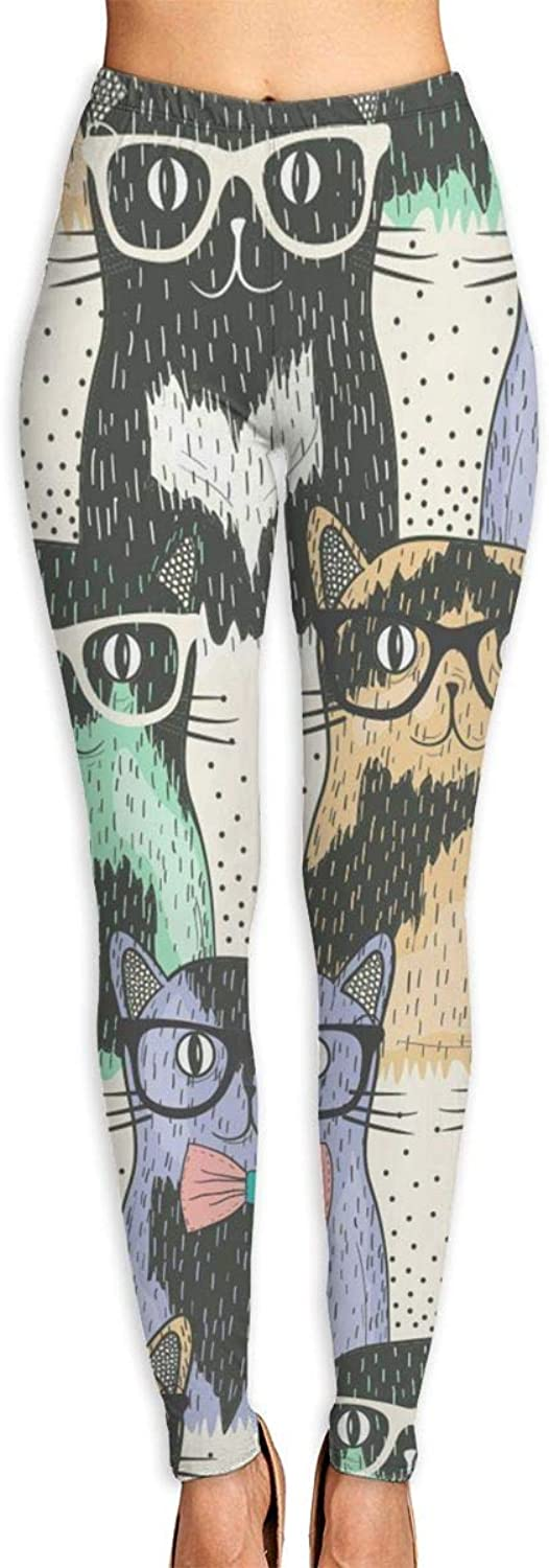 YUJA80T Nerdy Cats High Waisted Women's Leggings  Smart, Flexible Compression Yoga, Running, Fitness & Everyday Wear
