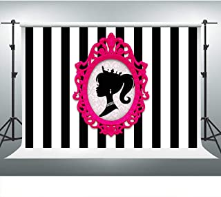 Barbie Themed Party Backdrop for Girl 7x5ft Black and White Stripe Background Glamour Girl Birthday Party Banner Cake Table Decorations LSVV903