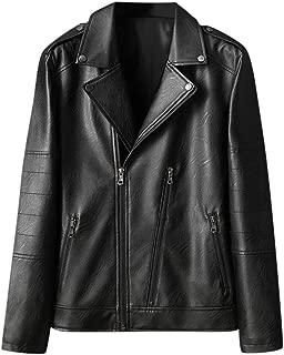 wuliLINL Mens Casual Retro Solid Jacket Outdoor Sportswear Windbreaker Lightweight Bomber Leather Jackets and Coats