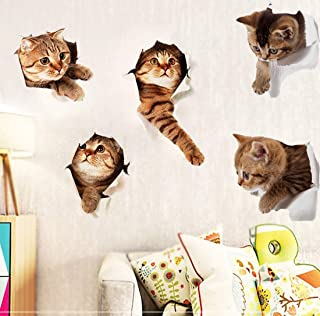 5Pcs 3D Removable Cats Large Wall Stickers, Cute Animal Wall Sticker Mural for Kids, Cute kitty Decor Posters for Nursery Room, Toilet, Kitchen, Offices, Refrigerator, Car