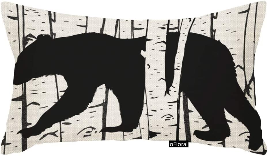 oFloral Black Bear and Deer Birch Forest Throw Pillow Case Cover Home Decore Cotton Linen Pillow Cover 12 x 20 Inch