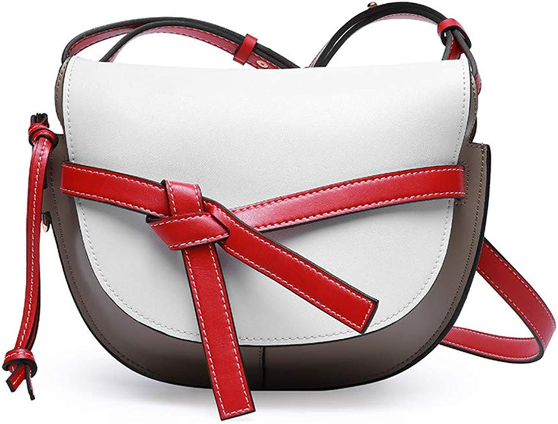 Sturdy Saddle Handbag Diagonal Cross Leather Women's Handbag Fashion Handbag Leather Women's Tote Large Capacity (color   White)