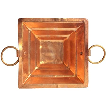 Spacetouch Kupfer Hawan Kund Traditionelle indische Agnihotri Yagna Havan Kund Pooja Zubeh/ör 20,3 x 20,3 cm Gr/ö/ße mit Havan-L/öffel 25,4 cm lang Achmani-L/öffel