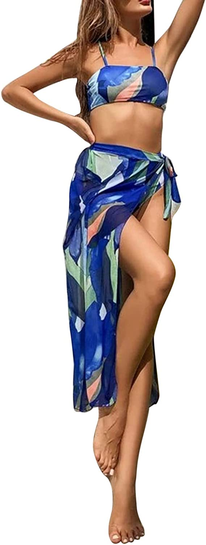 Women's 3 Piece Bikini Set Leaf Print Spaghetti Strap Swimsuit with Cover Up Beach Skirt