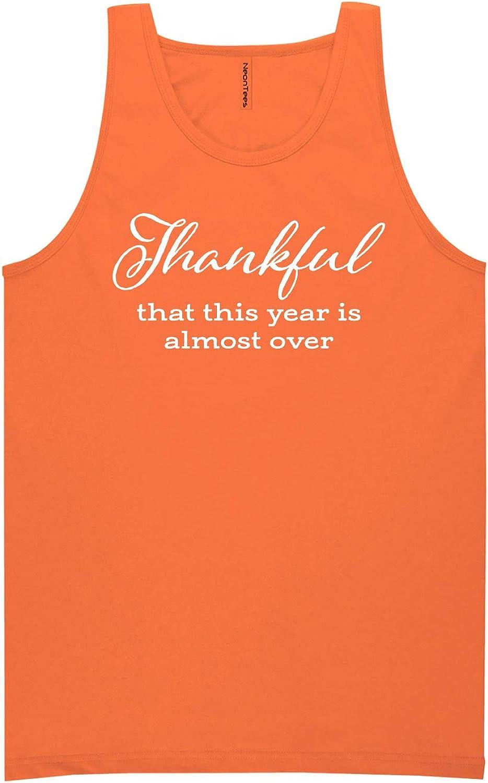 zerogravitee Thankful This Year is Almost Over Neon Orange Tank Top - XX-Large