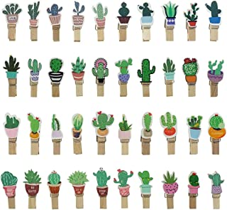 Mini Colored Cactus Wood Clothespins Photo Paper Peg Pin Clothespin Craft Clips, 80 Counts by Shxstore