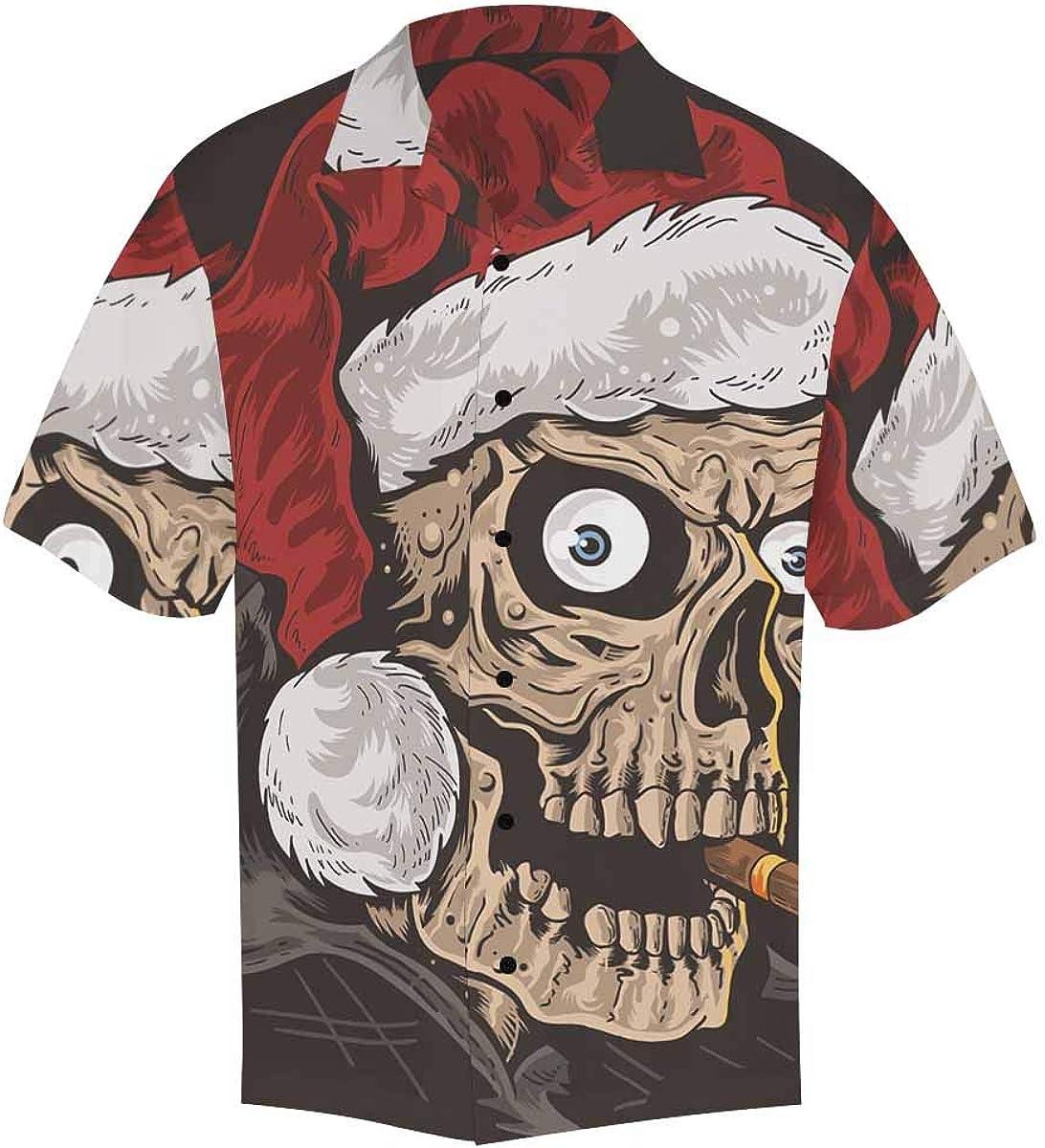 InterestPrint Men's Casual Button Down Short Sleeve Christmas Reindeer Hawaiian Shirt (S-5XL)