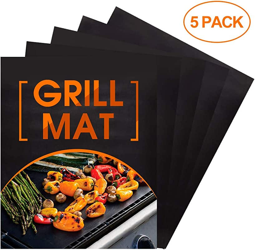 Heavy Duty BBQ Grill Mat Non Stick Set Of 5 BBQ Grill Baking Liners Reusable And Easy To Clean Barbecue Grilling Accessories Outdoor Picnic Barbecue Tool For Cooking Baking Dishwasher Safe BLACK