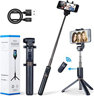 Apexel 2-in-1 Extendable Selfie Stick Monopod Tripod Stand with Wireless Remote Shutter for iPhone Xs/XS Max/XR/X/8/8 Plus/7/7 Plus/6s/6 Plus, Galaxy S9/S8/S7 Plus, Nubia, Huawei and More