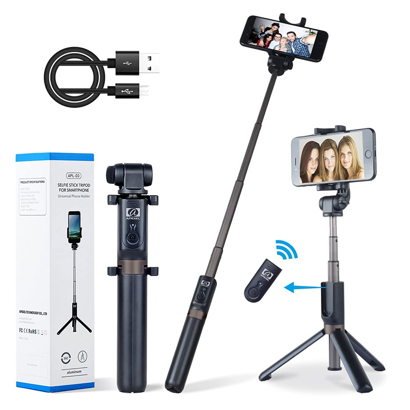 Apexel 2-in-1 Extendable Bluetooth Selfie Stick Monopod Tripod Stand with Wireless Remote Shutter for iPhone Xs/XS Max/XR/X/8/8 Plus/7/7 Plus/6s/6 Plus, Galaxy S9/S8/S7 Plus, Nubia, Huawei and More