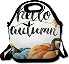 Lunch Bag for Women Men Gourd Orange Harvest Watercolor Hello Autumn Lettering Pumpkin Ripe Leaf Food Drink Nature Yellow Reusable Insulated Lunch Tote with Zipper