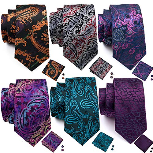 Barry.Wang 6PCS Paisley Tie and Pocket Square Set for Men Woven Paisley Tie Pack